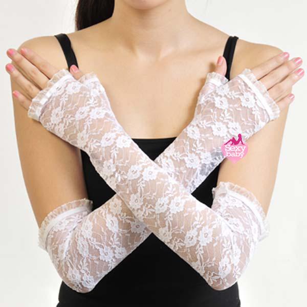 自慰套-開指蕾絲花紋手套(白)-長