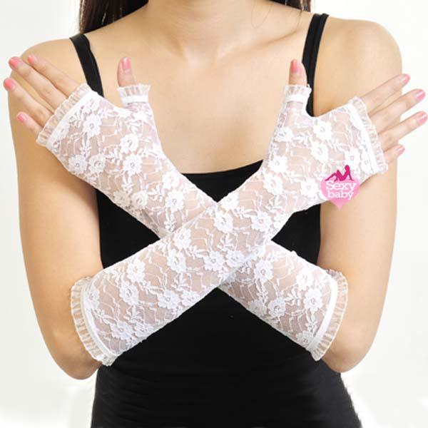 自慰套-開指蕾絲花紋手套(白)