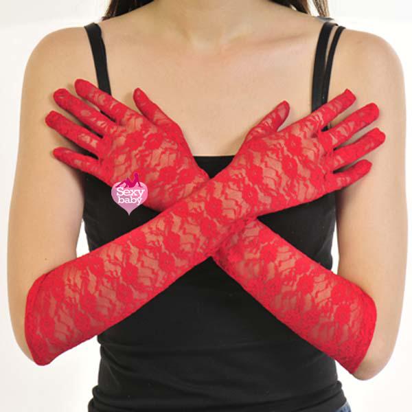 自慰套-全罩蕾絲花紋手套(紅)-長