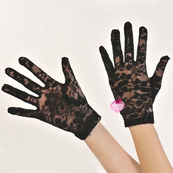 自慰套-全罩蕾絲花紋手套(黑)-短