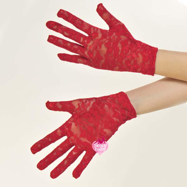 自慰套-全罩蕾絲花紋手套(黑)-紅