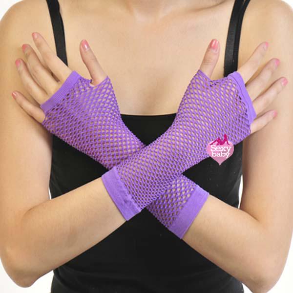 自慰套-開指網狀手套(紫)