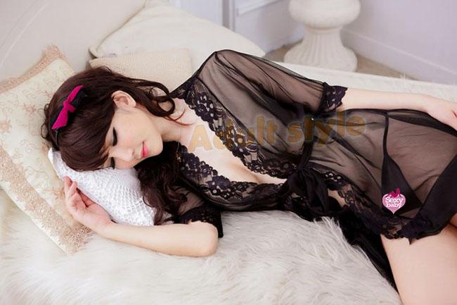 情趣精品-旭麗嬌妻!性感媚惑蕾絲花邊和服-浴袍