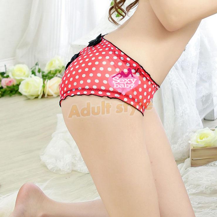 情趣內衣-可愛小圓點網紗蝴蝶結性感內褲