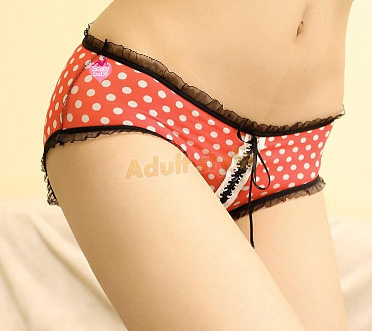 情趣內衣-性感點點蕾絲開檔女褲(紅色)