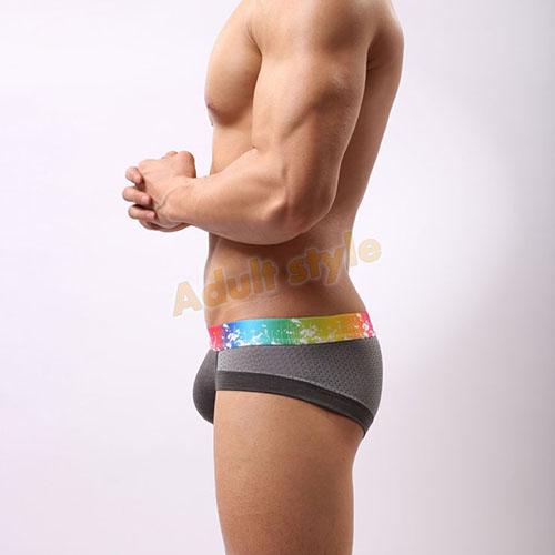 情趣內褲-莫代爾3D剪裁網孔透氣三角褲(深灰色)-L