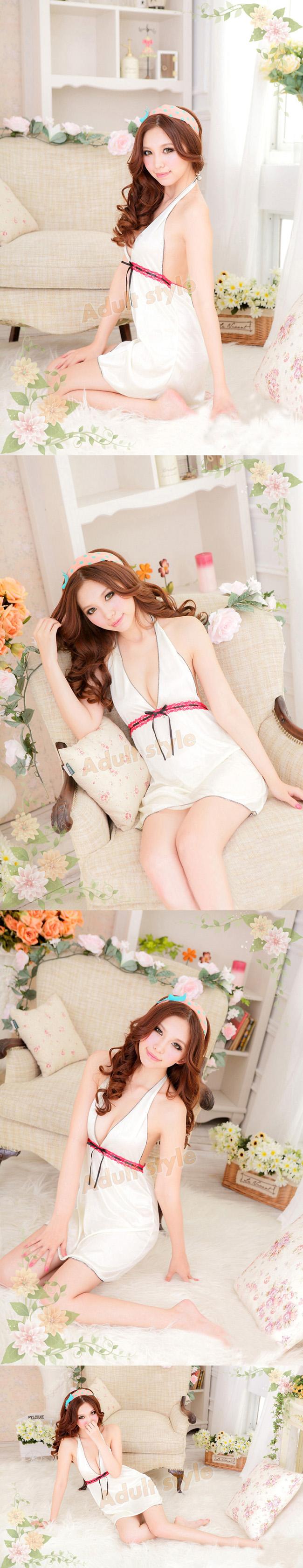 情趣精品-奢華線條美背深V甜美睡襯衣