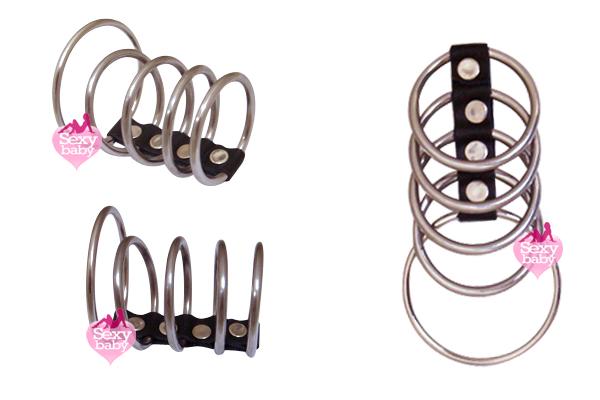 情趣精品-五環式皮扣型金屬老二環