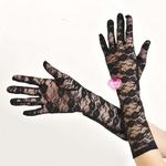 自慰套-全罩蕾絲花紋手套(黑)-白