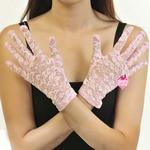 自慰套-全罩蕾絲花紋手套(黑)-粉紅
