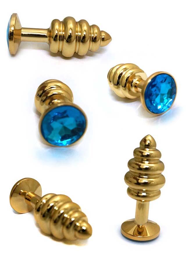 情趣精品-金色風暴-螺旋不銹鋼寶石後庭栓(小號)